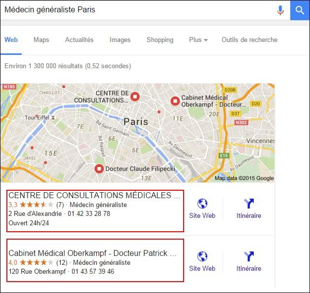 Premiers résultats naturellement obtenus par une recherche Google « Médecin généraliste Paris »