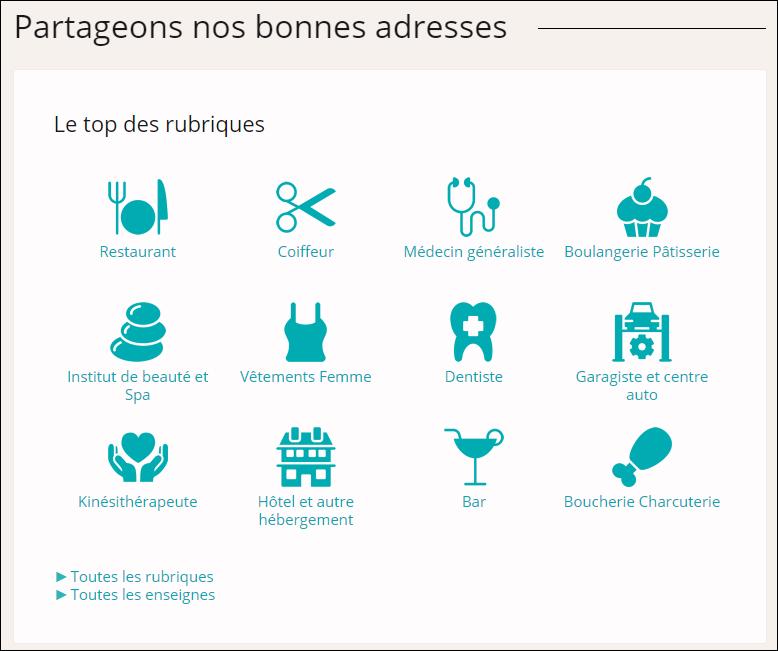 Page d'accueil du site « Juste à Côté » dans laquelle les professionnels de santé font partie des « top rubriques »